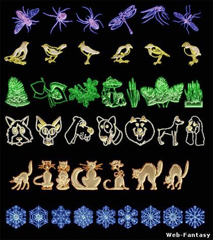 Символьных шрифтов насекомые птицы
